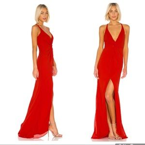 Lovers + friends Xael gown in red small